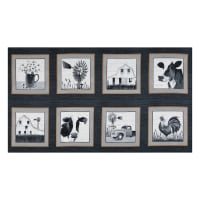 "Buttermilk Farmstead 9"" Blocks 24"" Panel Black"