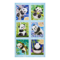 "Panda Sanctuary Digital Block 24 "" Panel Blue"