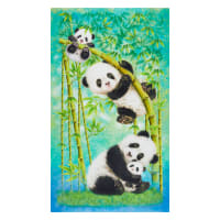 "Panda Sanctuary Digital Panda Banner 24"" Panel Off White"