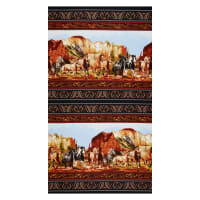 "Wild Wild West Scenic Double Border 24""  Panel Black"