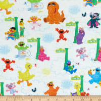 EXCLUSIVE Stretch Knit Sesame Street Vertical Characters White