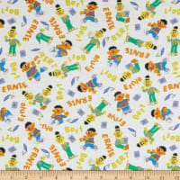 EXCLUSIVE KNIT Sesame Street Tossed Bert & Ernie White