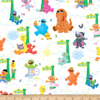 EXCLUSIVE MINKY Sesame Street Vertical Characters White