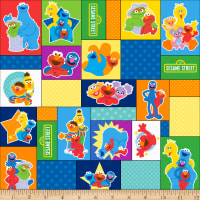 EXCLUSIVE MINKY Sesame Street Character Blocks Multi