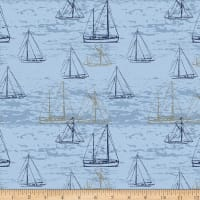 Stoffabric Denmark Looking For Sea Life Sailboats Blue