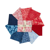 Stoffabric Denmark Solaire Assorted Fat Quarters 10pcs Red/Blue