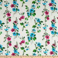 Italian Designer Cotton Lawn Floral Pink/Green/White/Yellow/Bleu