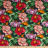 Italian Designer Cotton Lawn Big Flowers Green/Red/Grey