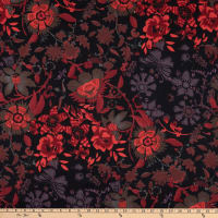Italian Designer Cotton Sateen Shirting Flower Vines Red/Black/Purple/Brown