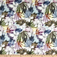 Italian Designer Stretch Cotton Sateen Tropic Floral Green/Purple/Yellow/White