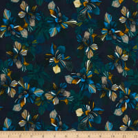 French Designer Viscose Faille Floral Blue/Mustard/Green/Gray/