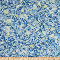 French Designer Viscose Challis Floral Blue/Yellow/White