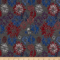 Italian Designer Jacquard Stretch Knit Floral Grey/Red/Blue