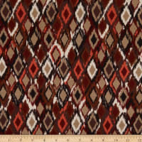 Italian Designer Viscose Stretch Jersey Knit Ikat Brown/Beige/Burgundy/Orange/Black