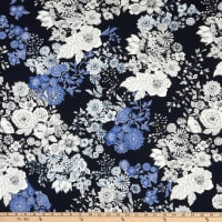 Italian Designer Viscose Jersey Knit Flowers Royal Blue/White/Prussian Blue/Black