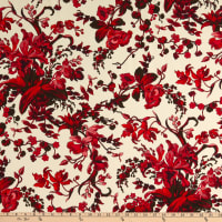 Italian  Designer Viscose Crepe de Chine Floral Cream/Red/Wine