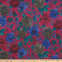 Italian Designer Wool Viscose Tissue Knit Flowers Green/Mauve/Red Charcoal