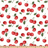 Red Cherries On White Ground, 100% Cotton Poplin By Gertie