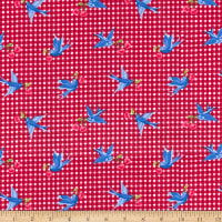 Red & White Check With Bluebirds, 100% Cotton Poplin By Gertie