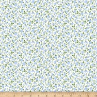Gertie Rayon Challis Ditsy Floral Blue/Cream