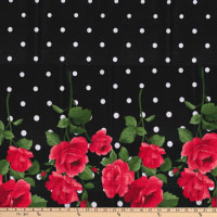 Gertie Stretch Sateen Roses Dot Border Red/Black/White