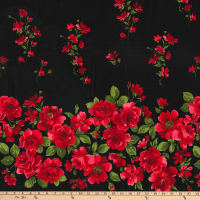 Gertie Stretch Sateen Roses Scattered Flowers Border Red/Black