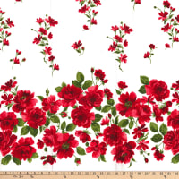 Gertie Stretch Sateen Roses Scattered Flowers Border Red/Cream