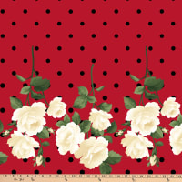 Gertie Stretch Sateen Roses Dot Cream/Red/Black