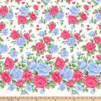 Gertie Stretch Sateen Roses Pink/Blue/Cream