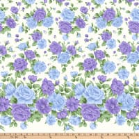 Gertie Stretch Sateen Roses Blue And Purple On Cream