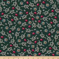 Fabric Traditions Stretch Poplin Roses And Knots And Hearts Cream/Red/Green