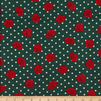 Gertie Poplin Roses Dot Red/Green/White
