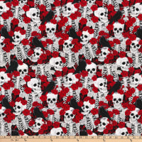 Stretch Sateen Skulls Roses Crows Red/Black