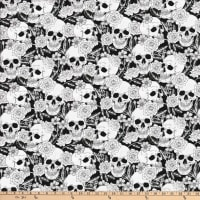 Stretch Sateen Flowers Skulls White/Black