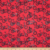 E.Z. Fabric Exclusive Polyester Jersey Knit Bikes Red