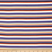 E.Z. Fabric Exclusive Polyester Jersey Knit Stripes Navy