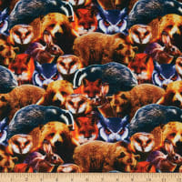 E.Z. Fabric Exclusive Polyester Jersey Knit Woodland Animals Multi