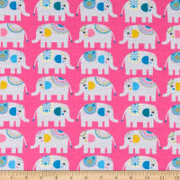 E.Z. Fabric Exclusive Polyester Jersey Knit Elephant Love Pink