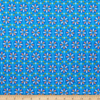 E.Z. Fabric Exclusive Polyester Stretch Jersey Knit Flower Wheel Blue