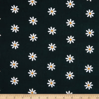 E.Z. Fabric Exclusive Polyester Stretch Jersey Knit Itsy Daisy Black/White
