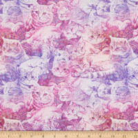 E.Z. Fabric Exclusive Polyester Jersey Knit Kitty Cat Purple