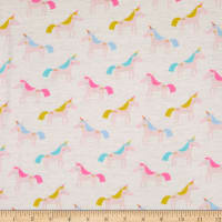 E.Z. Fabric Exclusive Polyester Jersey Knit Unicorn Rainbow Cream