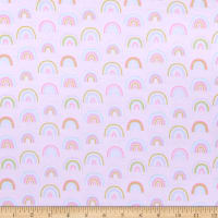 E.Z. Fabric Exclusive Polyester Jersey Knit Dancing Rainbows Pink