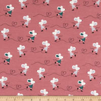 ArtCo Jersey Happy Mouse Old Rose