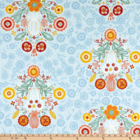 ArtCo Prints Folklore Baroque Ottoman Light Blue
