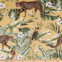 ArtCo Prints Leopard Tropical Jungle Printed Velvet Dark Yellow