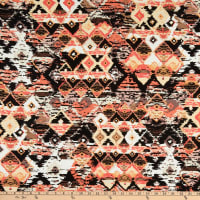 Fabtrends Rayon Challis Ethnic Ikat Coral/Taupe