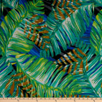 Fabtrends Sunrise Rib Stretch Knit Tropical Leaves Jade/Lime