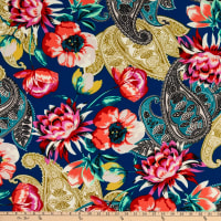 Fabtrends Washer Ghost Texture Crepe Paisley Floral Cobalt/Red