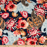 Fabtrends Washer Ghost Texture Crepe Paisley Floral Navy/Coral